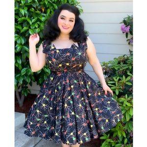 1950s Atomic Dress Starbursts Mid-Century Pinup